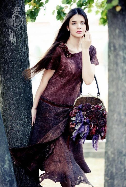 Купить Валяное платье «Dream on» - коричневый, валяное платье, платье из войлока, ирина демченко