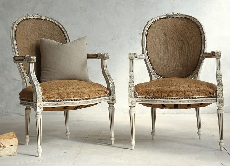 Pair Vintage Louis XVI French Style Shabby Cream Armchairs-antique, french,  hand carved - 103 Best Antique French Furniture Images On Pinterest
