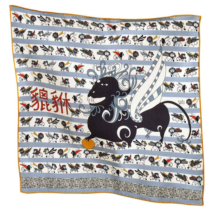 """Rumisu - Pixiu print  silk pocket square from """"Marching with Myths"""" collection"""