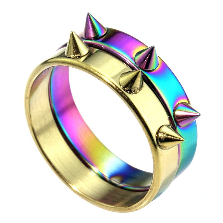 1.09$  Buy here - MMS 4MM in Width 2Colors Punk Stainless Steel Rings Defensive Spikes Rivet Cone Ring Jewelry Wholesale Gift Rings    #bestbuy