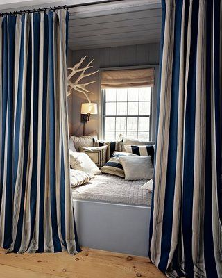 Nautical, Antlers, Shade, Quilt, Stripes, Navy, Cream/White, Wall Lamp, Throw Pillows, Guest Room, Curtains, Cotton, Denim, Chambray, Linen, Canvas, Duck