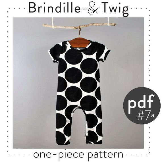 Baby pattern one-piece, short and long sleeve, pdf download sizes 0-3, 3-6, 6-9, 9-12 month -Pattern 7a