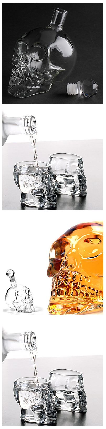 Step away from classic glasses and intrigue your family and friends with these unique skull shaped whiskey/ vodka / cognac jar and glasses / shots! Click on the picture to see them all at affordable prices + FREE delivery!