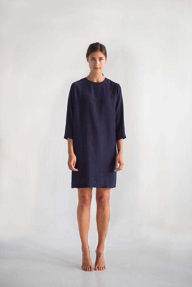 Miriam dress in blueberry, 100% Ahimsa silk