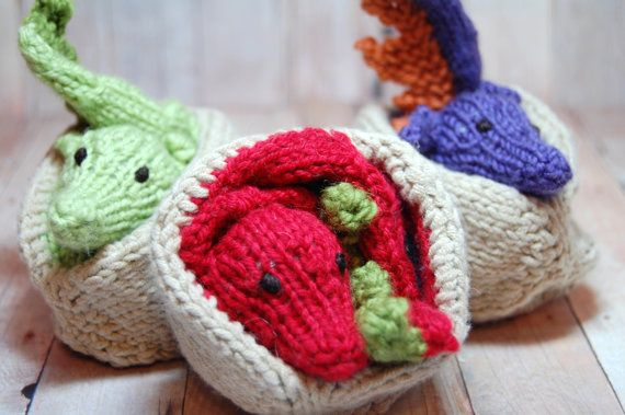 Knit Dragon Waldorf Toy Dragon Hatchling by SweetBauerKnits