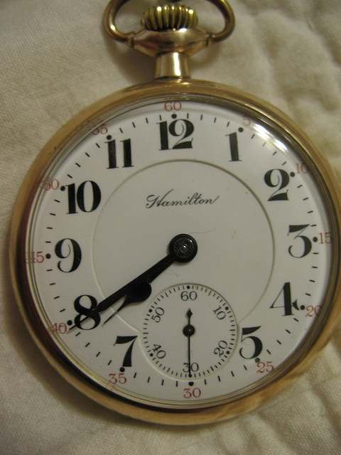 Great-grandfather's watch. A very plain, functional Hamilton watch on the outside. Model 992, made in 1913.
