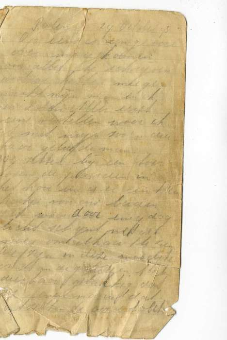 Page from Selma Wijnberg's diary. She began the diary soon after she and Chaim Engel escaped from the Sobibor killing center during the prisoner uprising.  October 14, 1943  Jewish prisoners at the Sobibor killing center begin an armed revolt. About 300 escape. SS functionaries and police units, with assistance from German military units, recapture about 100 and kill them