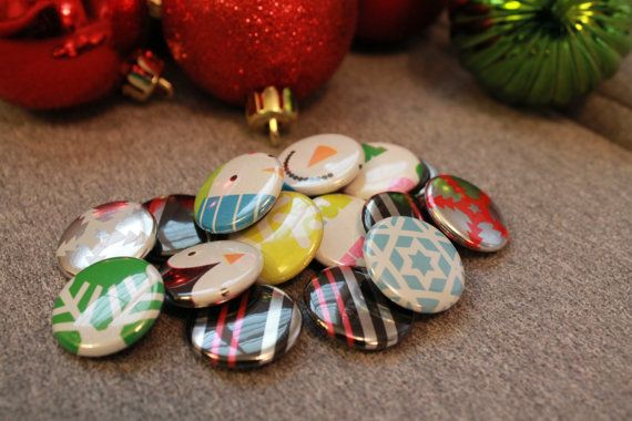 Christmas wrapping paper 1 inch magnets by BecomingButtons on Etsy, $5.00