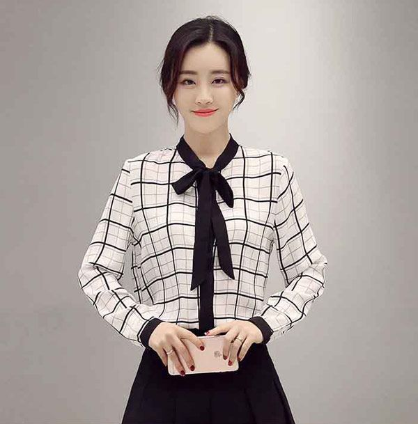 Kemeja Wanita Kotak Kotak Lengan Panjang Bahan Sifon B2927