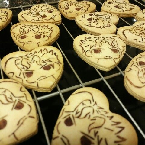 JoJo's Bizarre Adventure biscuits. Kakyoin from Stardust Crusaders. I LOVE HIM A LLLLOOOOTTTTTTTT=D