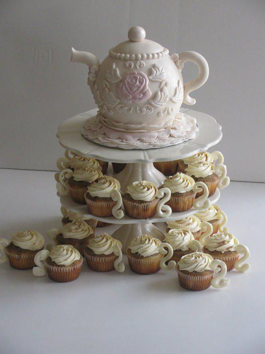 Tea pot cake with tiramisu teacups cupcakes! - Cake by Sandra Caputo