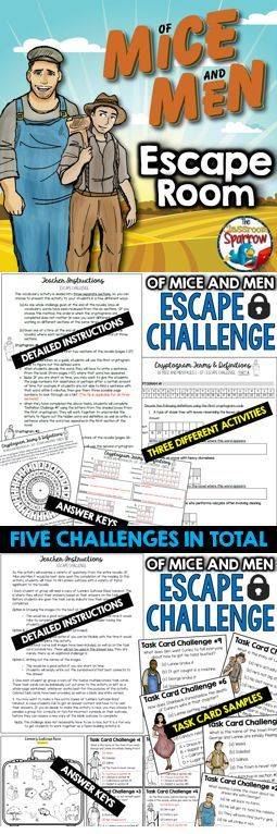 Looking for a NEW and FUN way to assess reading comprehension? There are five Of Mice and Men themed escape room (trivia) challenges included in this file. The puzzles and challenges are a fun way to assess reading comprehension, which cover a variety of different elements including: character analysis, vocabulary, themes and symbols, quote identification and a brief review of the author, John Steinbeck.