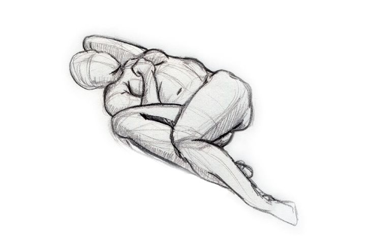 drawing laying down | Woman lying in a cringing position