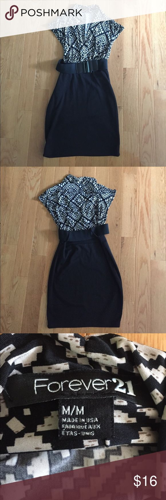 Forever 21 blouse top body con dress with belt Has a silk blouse like top, v neck, built in black body con skirt, removable belt, fits like small, super comfortable, thicker material on skirt bottom. Length goes to mid-low thigh (I'm 5'6') Forever 21 Dresses Midi