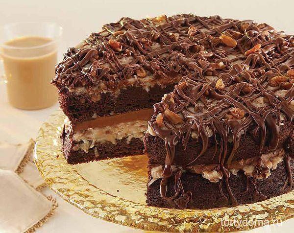 Шоколадный торт с орехами  ИНГРЕДИЕНТЫ: ● Яйца - 4 шт.; ● сметана - 4 ст.л.; ● сахар - 200 г.; ● мука - 200 г.; ● разрыхлитель - 1 ч.л. с горкой (или две трети ч.л. гашеной соды в сметане); ● какао - порошок - 4 ч.л.  Для крема: ● масло сливочное - 180 г.; ● вареная сгущенка - 1 банка; ● какао - порошок - 3 ч.л.; ● Любая пропитка - по вкусу (у меня вода с вареньем); ● Орехи - по вкусу.  ПРИГОТОВЛЕНИЕ: Муку перемешать с какао и разрыхлителем. Яйца взбить с сахаром 8 мин, добавить сметану…