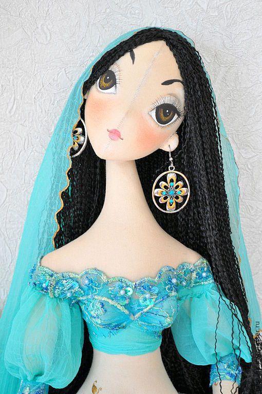 Купить Лейла - бирюзовый, восточный костюм, коллекционная кукла, восточный стиль, авторская кукла
