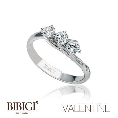 Anello #Trilogy oro bianco e diamanti #Valentine #Bibigi , #Bibigì .  Un must per chi non sa rinunciare al classico solitario, anello o parure, una collezione classica dalla montatura delicata ma curata nei più piccoli particolari.