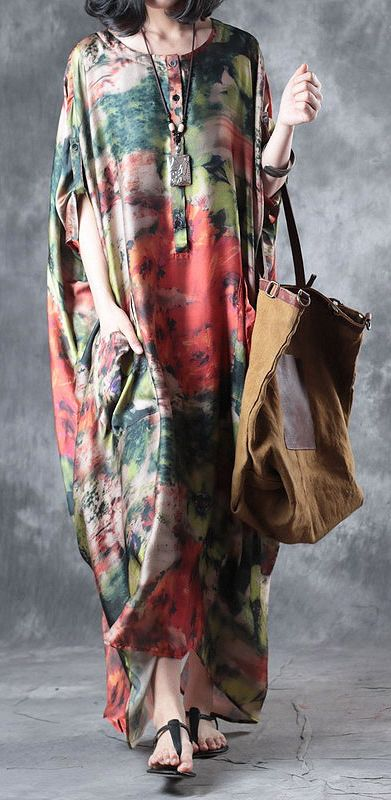 baggy summer multi vintage silk dresses plus size casual sundress batwing sleeve