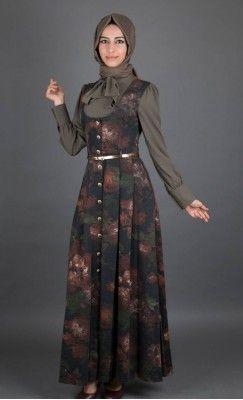 Haki çiçekli gömlekli jile elbise İsar