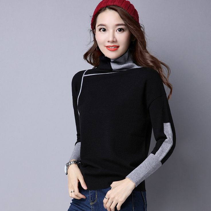 2017 Autumn Winter Knitted Sweaters for Woman Pull Femme Slim Comfortable Turtleneck Long Sleeve Sueter Mujer. Click visit to buy