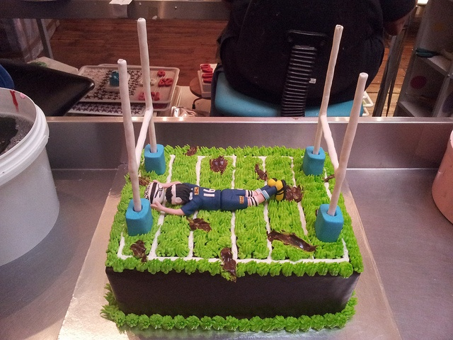 A4 Wicked Chocolate Rugby Field cake with 3D Stormers rugby player figurine, 3D goal posts, 3D rugby ball by Charly's Bakery, via Flickr