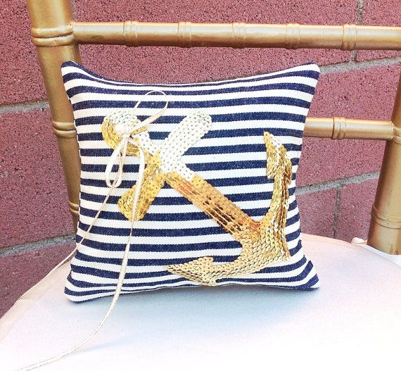 Ring Pillow Ring Boy Gold Wedding Nautical by LuckyYouLuckyMe, $49.00