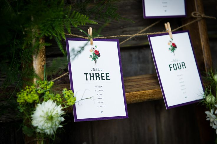 These flowers and foliage adorned the wooden ladder table plan to create a weave of botanic beauty. For more wedding inspiration visit www.weddingsite.co.uk