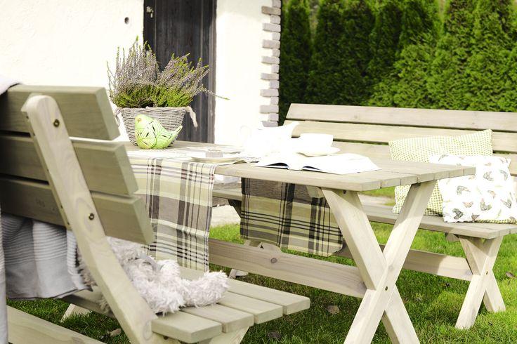 Zestaw BBKD stół i 2 ławki, meble ogrodowe drewniane, 599 zł