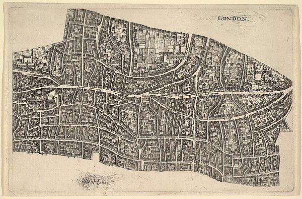 Street map of the City of London before the Great Fire of 1666; image of St Paul's Cathedral at left.
