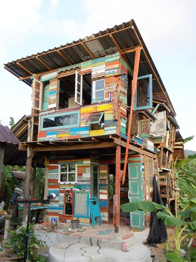 The fantastic Love Art Studio in Phuket Art Village, Rawai.  This is home and studio to artist Pui who built the structure from pieces of driftwood collected from beaches around Phuket during the rainy season.  Here he spends most of his time painting and making sculptures.  He also holds art workshops for children using collected items.