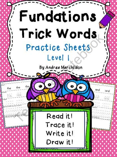 Fundations Trick Word Practice from Tricks of the Trade in First Grade on TeachersNotebook.com - (97 pages) - Fundations Level 1 Tricks Words Practice Sheets