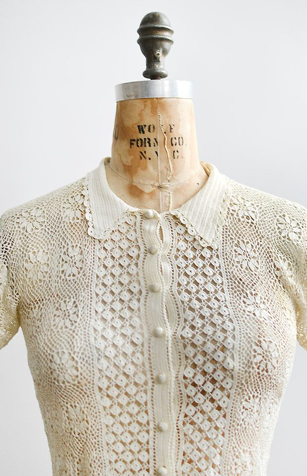 vintage 1930s irish lace crochet top                                                                                                                                                                                 More