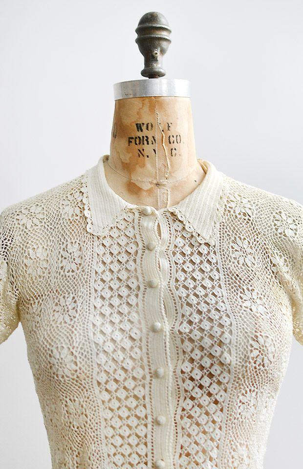vintage 1930s irish lace crochet top