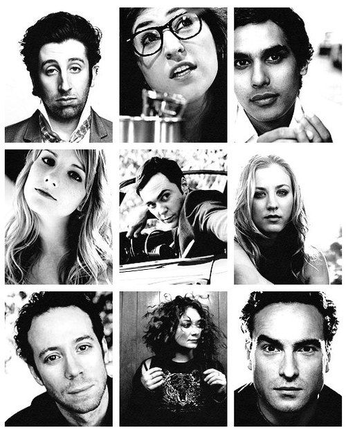 Big Bang Theory LOVE. Top to bottom, left to right: Howard, Amy, Raj, Bernadette, Sheldon, Penny, Stuart, Leslie, Leonard