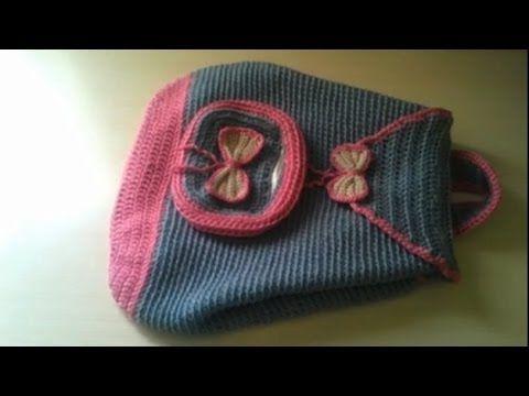 كروشيه محفظة اطفال . How to crochet a backpack . Mochilas tejidas.  crochet un sac a dos pour enfants .