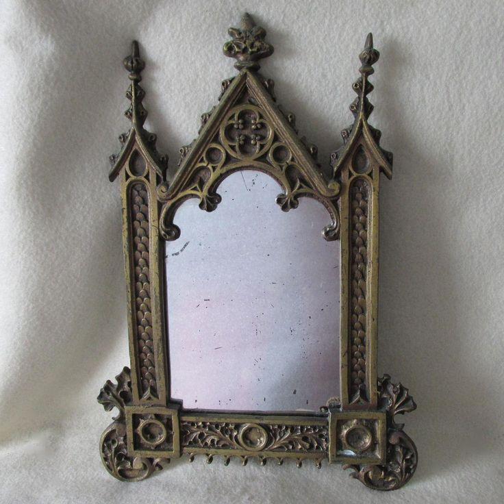 SOLD....Antique c1880s Gilt Bronze Gothic Picture Frame, Mirror