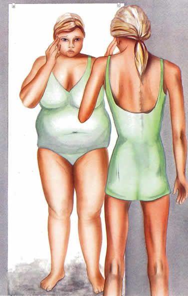 Deze afbeelding geeft strijd weer van de vrouw met zichzelf. Ze denkt dat ze heel dik is terwijl ze dun is. Dit lijkt anorexia te zijn. De gezichts uitdrukking van de vrouw is erg verdrietig. Doordat de achtergrond grijs is valt de vrouw erg op. De groene kleur van haar kleding springt er echt uit. Door met schaduw te werken lijkt haar spiegelbeeld nog dikker.