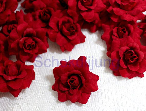 "12 Red Roses Artificial Silk Flower Heads 1.75"" for Wedding, Partie"