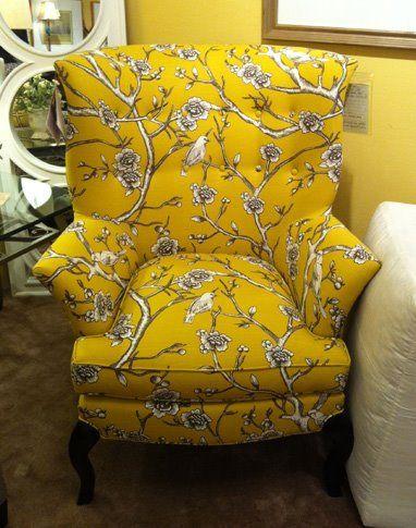 CR Laine Dautry Wing Chair In Blossom Marigold | Photo Via Dau Furniture