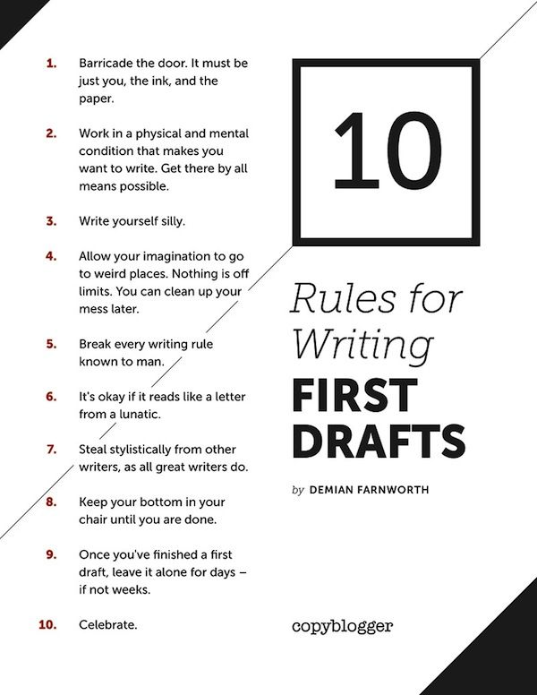 10 rules for writing first drafts #tips #contentmarketing