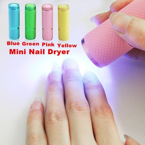 1pc/pack Mini UV Gel Curing Lamp Portability Nail Dryer LED Flashlight Currency Detector 9 LED Aluminum Alloy AAA Battery