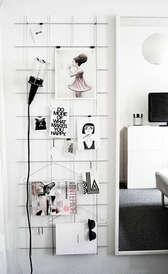 White Wire Wall Grid Wire Mesh Memo Board Girl Workspace