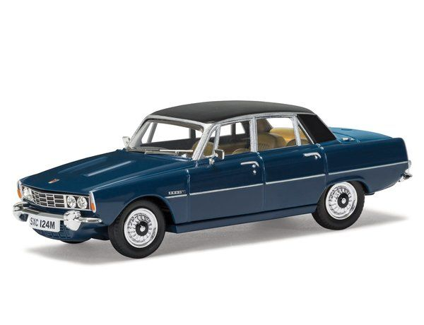 The Corgi Rover P6 3500S Scarab Blue, Export Specification, RHD is a superbly detailed diecast model car in the Vanguards Collection.  Rover launched the automatic transmission only P6 3500 V8 in April 1968 and answered enthusiast requests by announcing the 4-speed manual 3500S in October 1971.