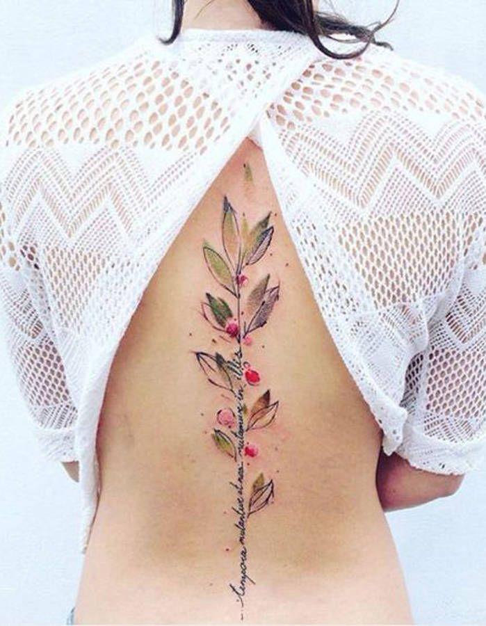 Tatouage colonne vertébrale fleur