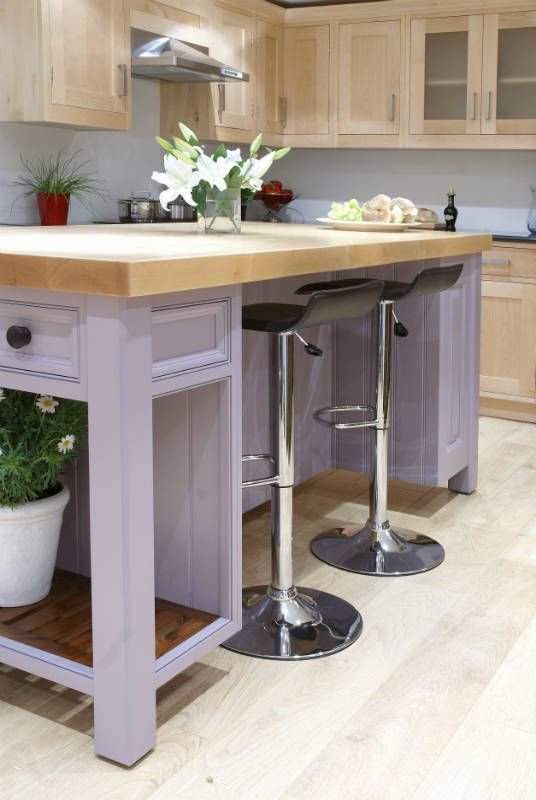 Moveable kitchen island unit. See more of this kitchen at http://woodworkkitchens.co.uk/kitchens/painted-and-wood-combinations/moveable-island/