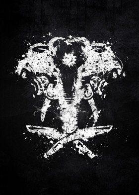 Far Cry 4 Logo Elephant Kyrat Ajay Ghale Video Game White Black Splat Splatter Symbol Emblem Diy Spring Crafts Far Cry 4 Metal Posters