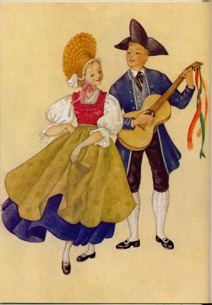 Vorarlberg, Walgau - Österreichs Trachtenbüchlein, Gemalt von MARIA REHM, Pinguin-Verlag, Innsbruck, 9. Auflage 1981, Copyright 1954 by Pinguin-Vertag, Innsbruck