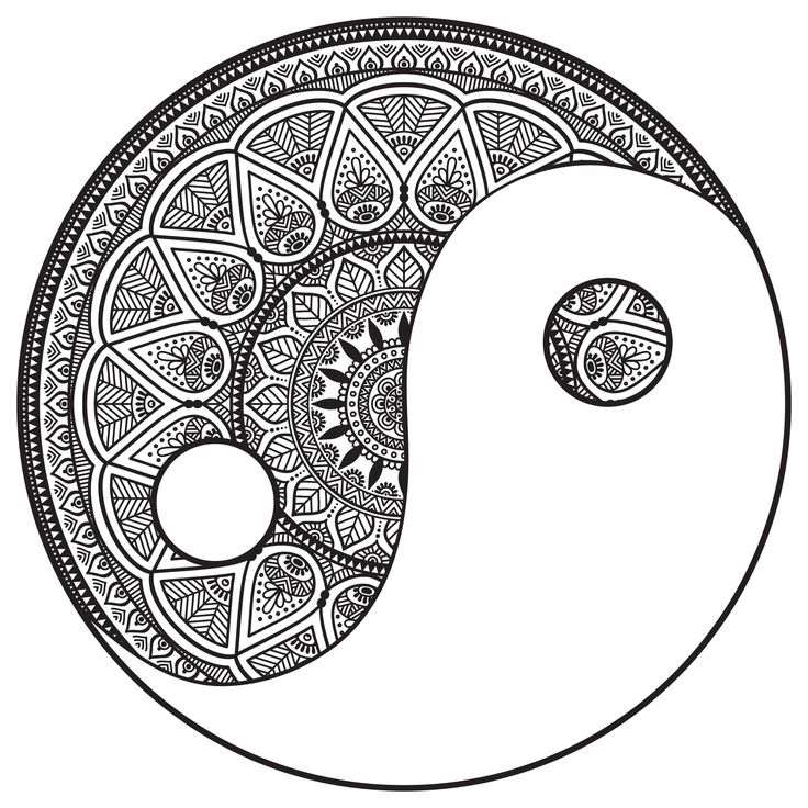 Coloring page mandala yin and yang to color by snezh from for Ying yang coloring pages