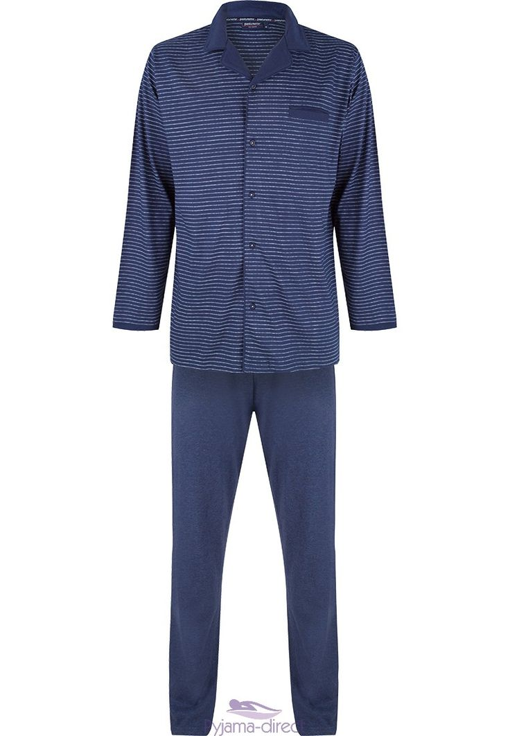 You can easily spend your evening relaxing in this men's long sleeved, navy blue 'dots & crosses' cotton pyjama with long pants