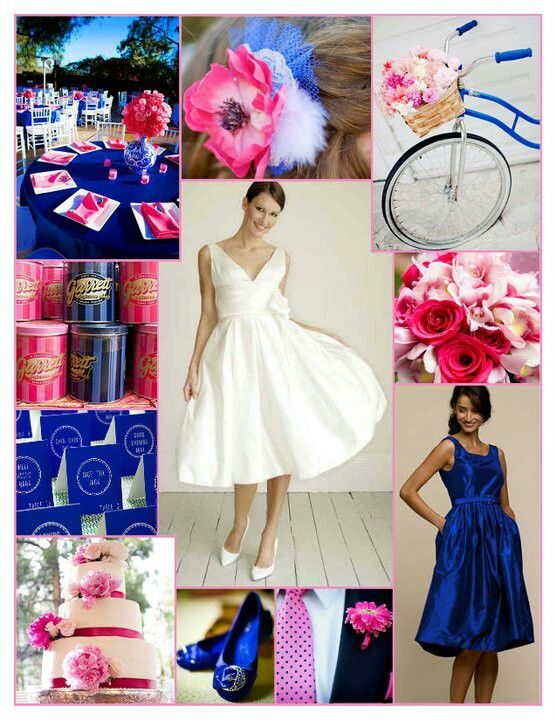 These are going to be my colors:-)Royal blue and pink wedding inspiration